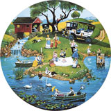 River Festival 500 Round Piece Jigsaw Puzzle