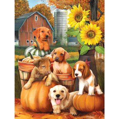 Autumn Puppies 300 Large Piece Jigsaw Puzzle