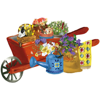 Waiting for Sunshine Wheelbarrow 1000 Piece Shaped Jigsaw Puzzle