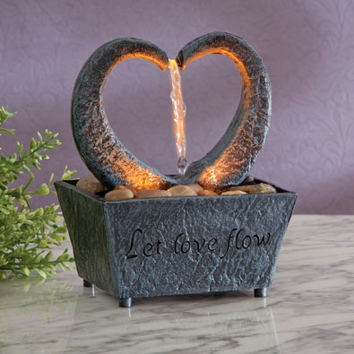Flowing Heart LED Fountain