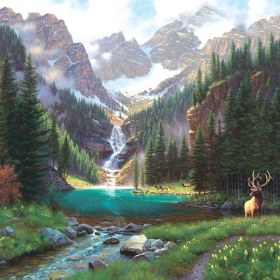 Elk at the Water 1000 piece jigsaw Puzzle