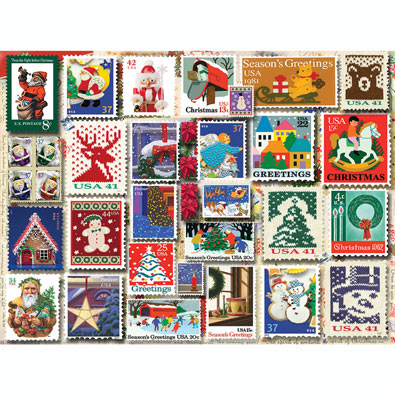 Christmas Stamps 1000 Piece Jigsaw Puzzle