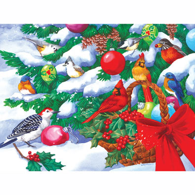 Birds and Christmas Basket 300 Large Piece Jigsaw Puzzle
