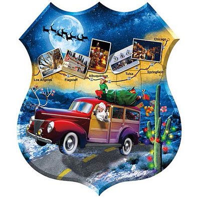 Santa's Highway Shaped 1000 Piece Jigsaw Puzzle