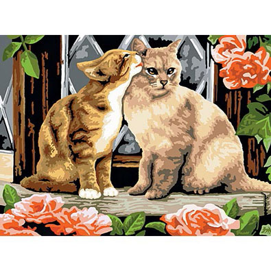 Kissing Kittens-Painted by Numbers Kit