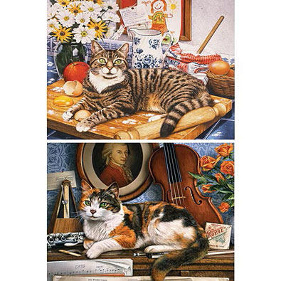 Set of 2: Geoffrey Tristram Cat Puzzles