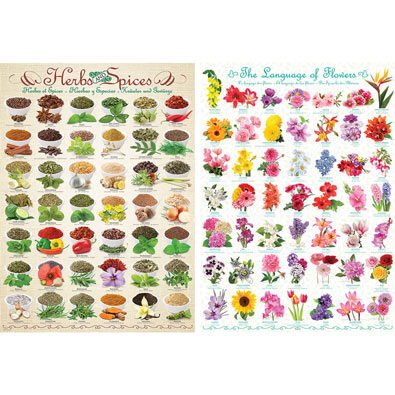 Set of 2: The Language of Flowers and Herbs And Spices 1000 Piece Collage Puzzle
