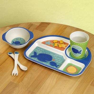 Eco-Friendly Kid's Bamboo Whale Dinner Set