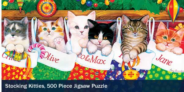 Stocking Kittens 500 Piece Jigsaw Puzzle