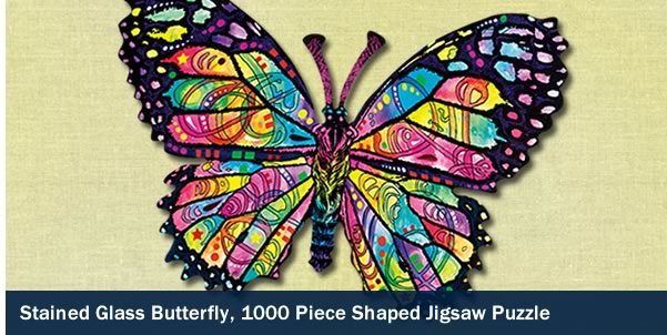 Stained Glass Butterfly 1000 Piece Shaped Jigsaw Puzzle