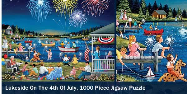 Lakeside on the 4th of July 1000 Piece Jigsaw Puzzle