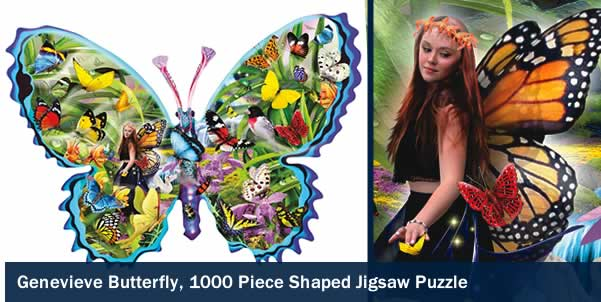 Genevieve Butterfly 1000 Piece Shaped Jigsaw Puzzle
