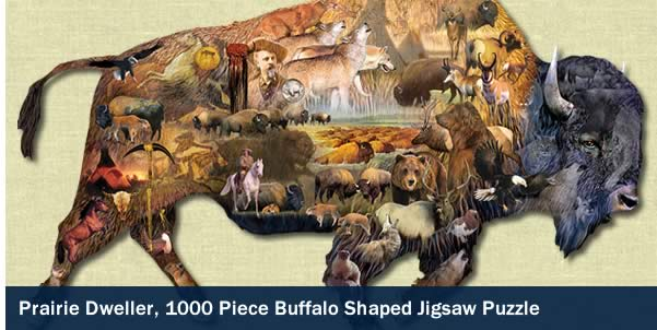 Prairie Dweller 1000 Piece Buffalo Shaped Jigsaw Puzzle