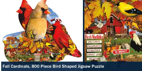 Fall Cardinals 800 Piece Shaped Jigsaw Puzzle