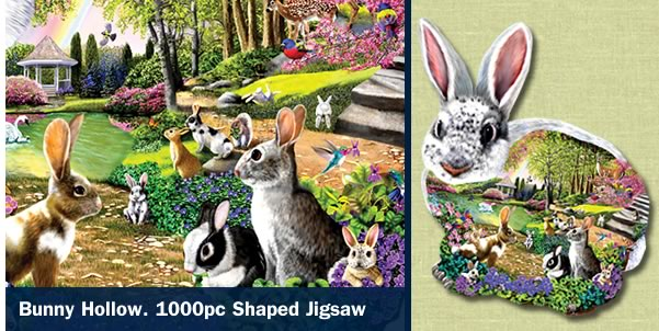 Bunny Hollow 1000 Piece Shaped Jigsaw Puzzle